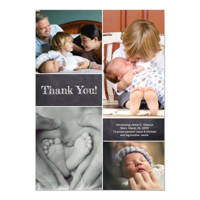 Baby photo collage Thank you Birth Announcement
