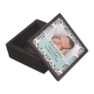 Baby Photo Eggshell Blue Brown Damask Gift Box