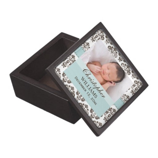 Baby Photo Eggshell Blue Brown Damask Gift Box Premium Jewelry Box