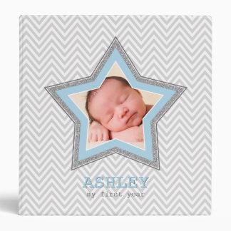 BABY PHOTO gray chevron pattern star frame blue Binder