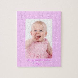 Baby Photo Jigsaw w Pink Border Jigsaw Puzzle