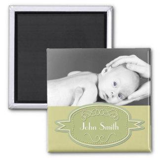 Baby Photo Keepsake - Green Refrigerator Magnet