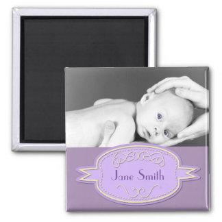 Baby Photo Keepsake - Purple Magnet