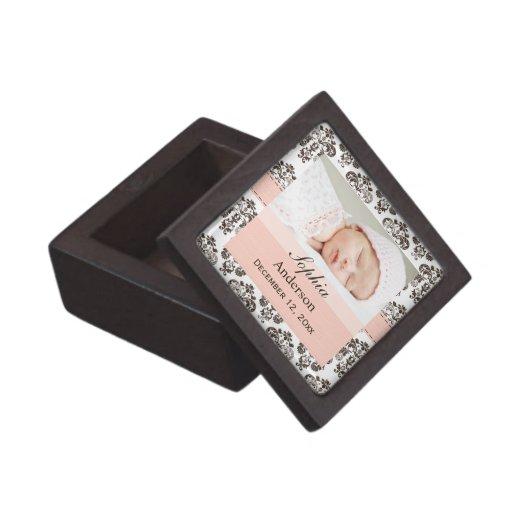 Baby Photo Pink and Brown Damask Gift Box Premium Jewelry Box