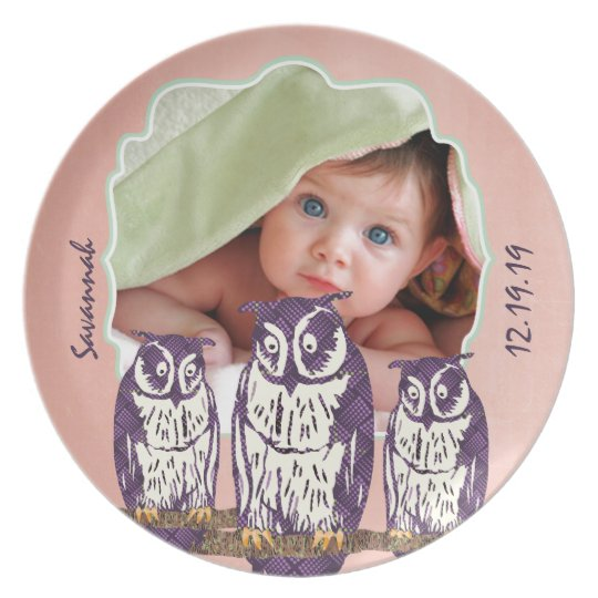 Baby Photo Purple Stylized Geometric Owl Family Dinner Plate