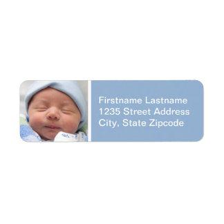 Baby Photo Return Address Labels | Cloud Blue