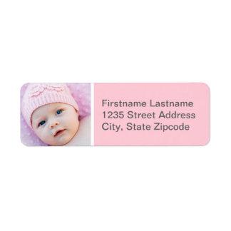 Baby Photo Return Address Labels | Pink Gray