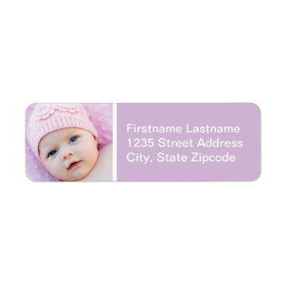 Baby Photo Return Address Labels | Violet Purple