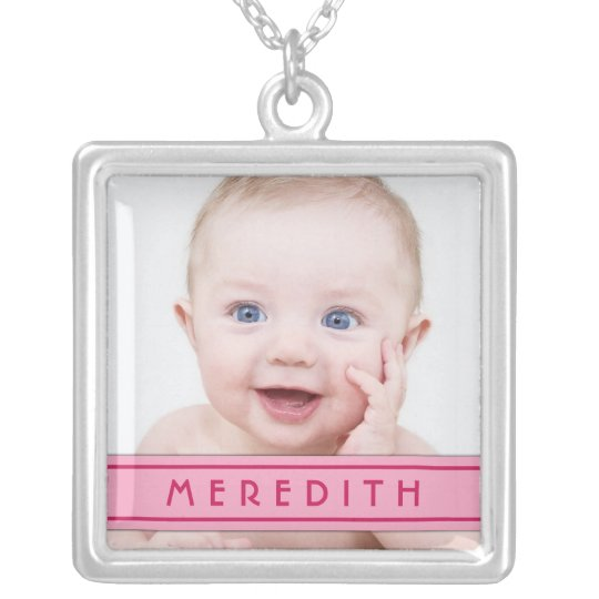 Baby Photo Template with Pink Name Plate Necklace