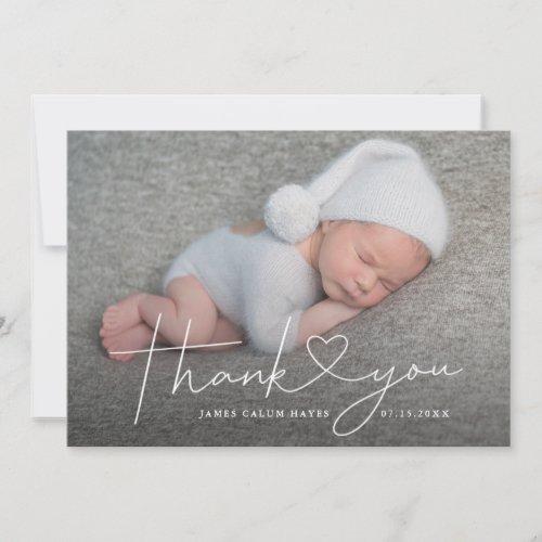 Baby Photo Thank You Script Heart Birth Announcement