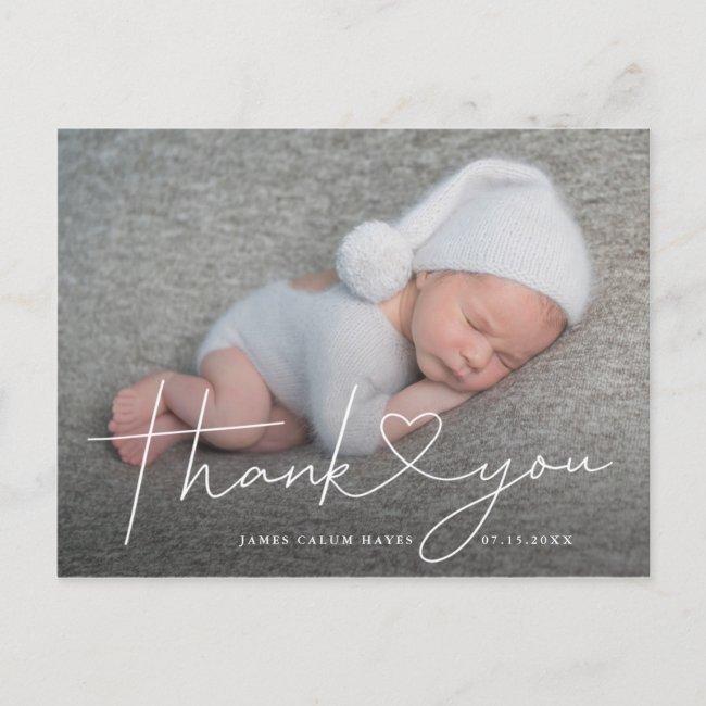 Baby Photo Thank You Script Heart Birth Announcement Postcard