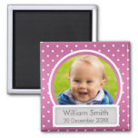 Baby Photo With Name & Date Polka Dot Pink 2 Inch Square Magnet