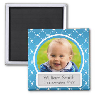 Baby Photo With Name & Date Quatrefoil Blue 2 Inch Square Magnet
