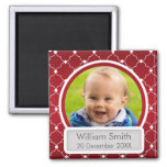 Baby Photo With Name & Date Quatrefoil Red 2 Inch Square Magnet
