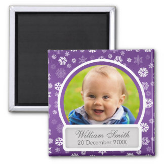Baby Photo With Name & Date Winter Snowflake 2 Inch Square Magnet