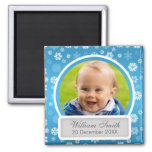 Baby Photo With Name & Date Winter Snowflake Blue Fridge Magnet