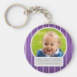 Baby Photo With Name Elegant Stripes Purple Key Chains