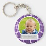 Baby Photo With Name Elegant Trellis Purple Key Chains