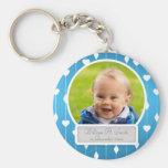 Baby Photo With Name Hearts & Diamonds Blue Key Chain