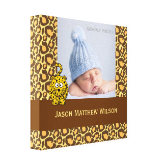 Baby Photo Wrapped Canvas Leopard Pattern