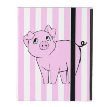 Baby Pig, Cute Little Piggy - Pink Black iPad Folio Case
