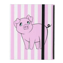 Baby Pig, Cute Little Piggy - Pink Black iPad Folio Case