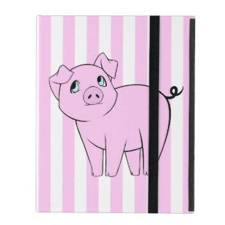 Baby Pig, Cute Little Piggy - Pink Black iPad Folio Cases