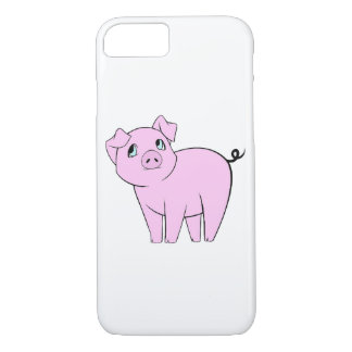 Baby Pig, Cute Little Piggy - Pink Black iPhone 8/7 Case