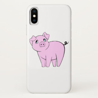 Baby Pig, Cute Little Piggy - Pink Black iPhone X Case
