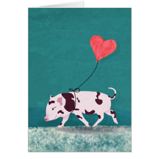 Baby Pig With Heart Balloon Card