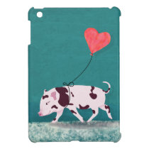 Baby Pig With Heart Balloon iPad Mini Cover