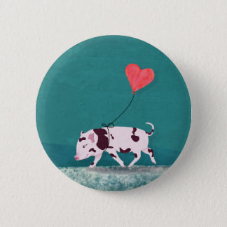 Baby Pig With Heart Balloon Pinback Button