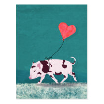 Baby Pig With Heart Balloon Postcard