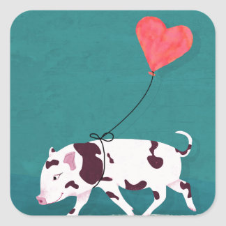 Baby Pig With Heart Balloon Square Sticker