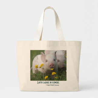 Baby Piglet in Field of Yellow Flowers Tote Bag