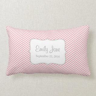 Baby Pillow - Pink Herringbone Pattern at Zazzle