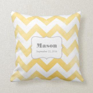 Baby Pillow - yellow chevron pattern