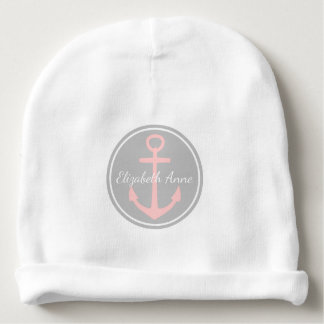 Baby Pink Anchor on Ash Grey Personalized Baby Beanie