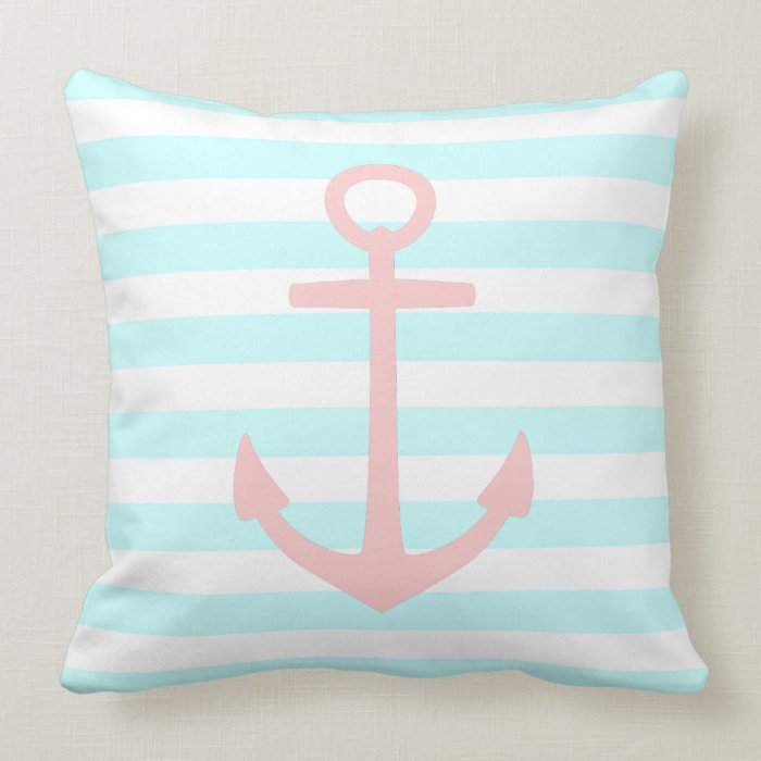 Baby Pink Decorative Pillows : Baby Pink Anchor on Raindrops and White Stripes Throw Pillow Zazzle
