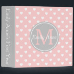 """Baby Pink and Ash Grey Hearts Monogram Scrapbook 3 Ring Binder<br><div class=""""desc"""">Cute white hearts on a background of sweet Baby Pink and accented with soft Ash Grey.  Personalize the front with your choice of name and initial and the spine with your choice of text.  Makes a great baby shower gift!</div>"""