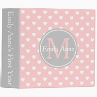 Baby Pink and Ash Grey Hearts Monogram Scrapbook 3 Ring Binder