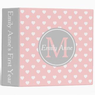 Baby Pink and Ash Grey Hearts Monogram Scrapbook 3 Ring Binder