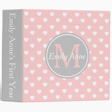 Toddler & Baby themed Baby Pink and Ash Grey Hearts Monogram Scrapbook 3 Ring Binder
