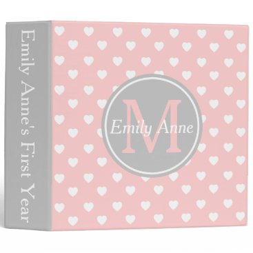 Valentines Themed Baby Pink and Ash Grey Hearts Monogram Scrapbook 3 Ring Binder