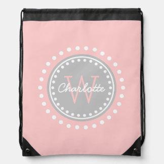 Baby Pink and Ash Grey Polka Dot Monogram Drawstring Bag