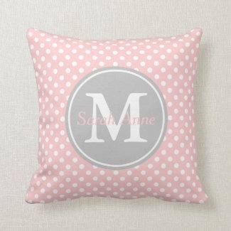 Baby Pink and Ash Grey Polka Dot Monogram Throw Pillow