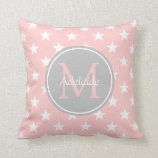 Baby Pink and Ash Grey Stars Monogram Throw Pillow