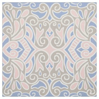 Baby Pink And Blue Decorative Pattern Fabric