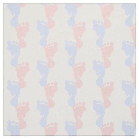 Baby Pink and Blue Footprints Fabric