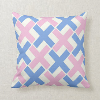 Baby Pink and Blue Xs Throw Pillow